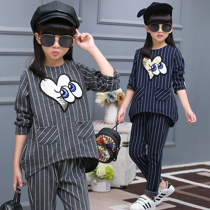 girls clothing sets striped print long sleeve shirt +pants 2 pieces 2017 autumn fall boutique kids clothing 12 years old teen<br><br>Aliexpress