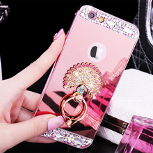 2017 Luxury Luxury Girl Woman Lady Metal Aluminium Diamond Mirror Bling Phone Case For iPod Touch 5 / Touch 6 Ring Holder Cover(China)