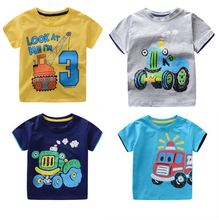 2017 Machines Autos Summer Children T Shirts Baby Kids Boys Girls Fire Truck/Crane Cartoon T-Shirt Cotton Short Sleeve Tops Tees