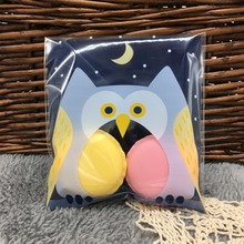 10cm*10cm 50Pcs Blue Owl Cookie Candy Self Adhesive Plastic Packing Bags Biscuit Cupcake Baked Food Package Pouches