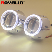 Metal HID H1 Bi-xenon Projector Lenses 3'' with 95mm White LED Angel Eyes Halo Ring DRL for V.W GTI Auto H4 H7 Headlights DIY