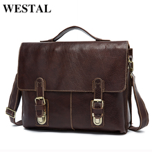 WESTAL Leather Laptop Bag 13inch Business Men Briefcase Messenger Leather Bag Men Bags Shoulder Crossbody Bags Handbag Totes