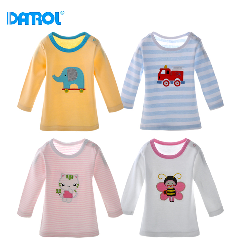 DANROL 5Pcs/set Baby Girl Tops Baby Long Sleeve Tops Cotton T-shirt Cute Baby Girls Boy Clothes Baby T-Shirt Random Delivery<br>