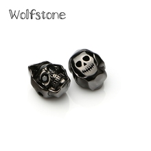 Wolfstone Gold and Silver Plated Skull Copper Charms with Pave Crystal Stone Pendants Fit DIY Bracelet Necklace Gift Jewelry(China)