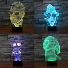 Cool Men Wear Glasses Soldier Ghost Finger Sign 3D Table Lamp Stunning Visual Three-Dimensional Night Light USB Touch Sensor