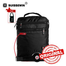 Suissewin Shoulder Bag Small Messenger Bag Tablets and Documents Mens Black Handbag 11-inch Crossbody Bags for students SWB027