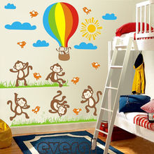Dancing Monkey Hot Air Balloon Vinyl Wall Decals Nursery Kids Bedroom home Decor Peel and Stick(China)