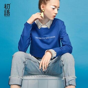 Toyouth t-shirt mujeres 2017 primavera carta impresa ocasional de algodón de manga larga del o-cuello camisetas tops