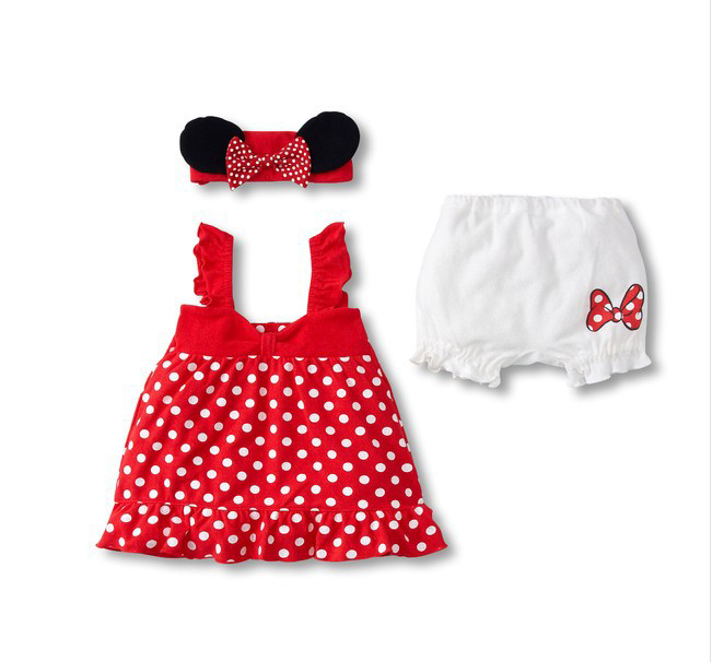 Fashion 3 pieces cartoon minnie costume new born infant red baby clothes set<br><br>Aliexpress
