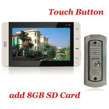 7inch Touch Button Color Monitor 8G SD Card  Video Recording Vandal-proof Metal Casing IR Cam Video Door Phone Intercom System
