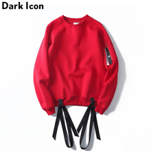 Ribbon Pullover Fleece Mens Sweatshirts 2017 Streetwear Plain Off Shoulder Hip Hop Sweatshirt Men Women Sweatshirts Red /Black(China)