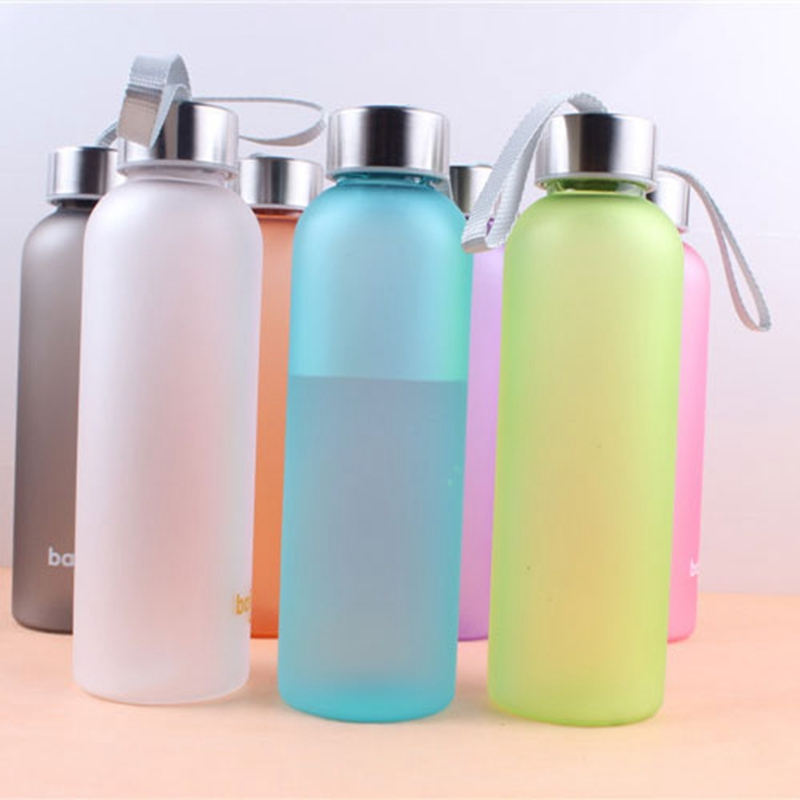 OnnPNNQ 600 ML Solid Color Sport Water Bottle Cylindrical Matte Metal Lid Seal Bottle Outdoor Camping Water Bottle(China)