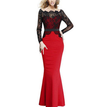 Buy Party Long Dress Elegant Lady 2017 Autumn Long Sleeve Black Lace Patchwork Maxi Dresses Women Vintage Sexy Dress Vestidos Mujer for $23.22 in AliExpress store