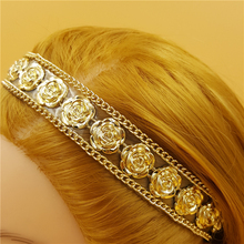 120pcs/lot women lady's sparkly fashion gold color flower rivet Headband luxury retro Hairband Hair Band Accessories wholesale