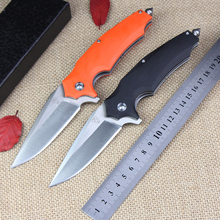 High quality Ball bearing folding knife 9Cr18MoV blade + G10 handle with life-saving cone outdoor camping hunting tactical knive(China)