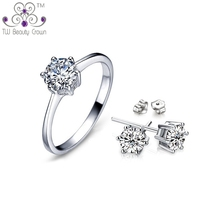 Real 925 Sterling Silver Classic Eternal 1 Carat White Crystal Cubic Round Stud Earrings Ring Wedding & Engagement Jewelry Sets