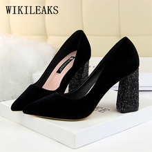 Buy fetish high heels women wedding shoes zapatos mujer tacon italian pumps woman luxury brand bigtree shoes Bling Square heel shoes