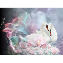 Needlework 5D Diy diamond square painting diamond mosaic Swan with flowers pattern pictures rhinestones handmade painting