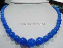 "New wholesale Woman long jewelry new Fashion 6-14mm Blue Round Beads Chalcedony Necklace Gifts For Girl Women 18""  W0044"