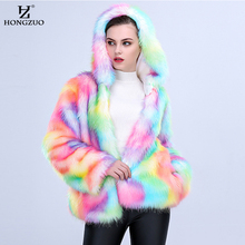 HONGZUO new arrival 2017 Women Colorful Faux Fox Fur Coat with Hooded Multicolor Long sleeve Artificial Fur Coats Jacket PC257