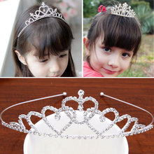 M MISM Summer Style Kids Princess Crown Hair band Sweet Accessories Rhinestone Twinkling Headband Hair Hoop For Party(China)