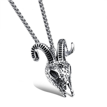 DoreenBeads Sheep Skull Punk Necklace Pendant Men Jewelry Stainless Steel Vintage Animal Skeleton Men's Necklaces Pendants Chain(China)