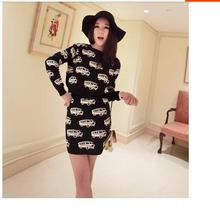 new fashion Autumn Winter women cute car pattern knitted sweater dress O-Ncek thick section two- piece suit(China)