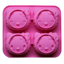 Silicone  cake mold hello kitty 4 lattices with two kinds of expression pudding chocolate molds jelly molds SICM-001-4