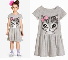 Children Girl Cartoon Cat Kitty Clothing Soft Short Sleeves Fancy Dress Party Dress For 3-9 Year Girl,J520