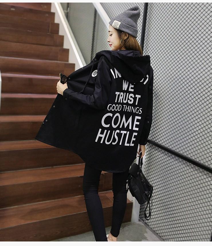 Jackets Women 2019 New Winter Fall Women\`s Basic Jacket Letter Print Coats Outwear Windbreaker Jacket Hooded Chaquetas Mujer (15)