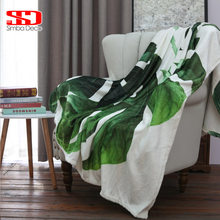 Green Topical Plants Flannel Throw Blankets on Sofa Modern Banana Leaves Soft Warm White Fur Covers Plush Bedspreads Kid Quilts(China)