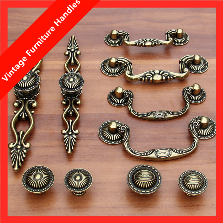 europe retro style shaky rings drawer cabinet knobs pulls vintage bronze dresser door handles antique brass knob with backplate<br><br>Aliexpress