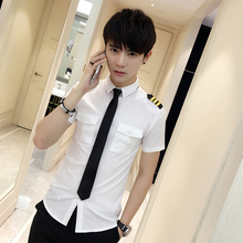 New Arrivals Mens Short Sleeve White Airline Pilot Uniforms Hair Stylist Fashion Slim Fit Black Workwear Big Size Male Clothing(China)