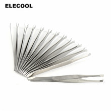 ELECOOL 12pcs/set Professional Stainless Steel Eyebrow Tweezers Face Hair Removal Clip Makeup Tool Women Cosmetics Beauty tool(China)