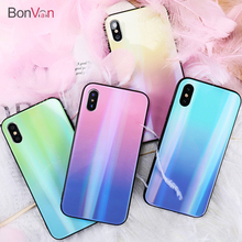 Buy BONVAN iPhone X 7 8 Plus Tempered Glass Back Case Gradient Color Laser Aurora Silicone Bumper iPhone 7 6S 8 6 Plus Cover for $4.50 in AliExpress store