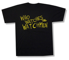 Watchmen Who Watches Text image Black T Shirt New Official Comic Film print your own t shirt design