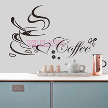 Coffee Cup Vinyl Wall Stickers for Kitchen Coffee Shop Mural Wall Art Wallpaper Home Decor House Decoration Wall Decals Posters(China)