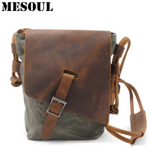 Military Waterproof Men Canvas Bag Casual Travel Small Shoulder Bag Vintage Crazy horse Leather Crossbody Men Messenger Bags