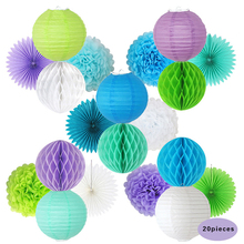 20pcs/set Chic Handcraft Chinese Paper Lantern Pom Pom Tissue Fan Watermelon Lantern Ball Hanging Decoration for Wedding Party(China)