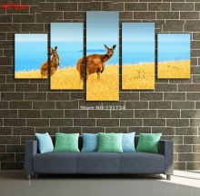 Canvas Kangaroo Life Painting Yellow Grassland Scenery Painting Nature Pictures Cuadros Wall Home Decor For Living Room