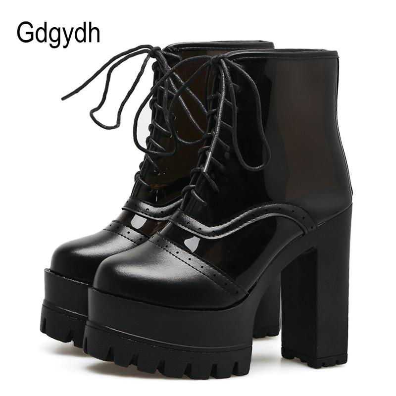 Gdgydh Fashion White Womens Boots Platform Lacing Party Shoes Spring Autumn Leather PVC Transparent High Heels Ladies Shoes<br>