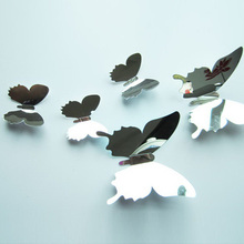 New 12Pcs Eoscopic Acrylic Butterfly Wall Stickers Living Kids Bed Room Decor Silvery