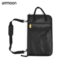 ammoon Zippered Drum Stick Drumsticks Mallet Bag Case with External Pockets Floor Tom Hooks Carrying Handel Shoulder Strap(China)