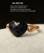 Vintage Style Dark Blue Baby's breath Heart Design Crystal rings women's costume jewellery Free shipping