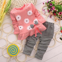 2pcs 2T~4T Baby Girl Clothes Sets Pink Flower Long Sleeved+Pants Autumn Spring Lattice kids Clothes Set V49(China)