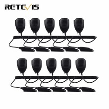 10pcs RETEVIS RT6 LED Handheld Speaker MIC Microphone 3.5mm Mono Jack for Walkie Talkie Retevis RT6 Ham Radio J9114M