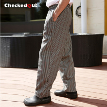 Top quality Cook pants checkedout work pants  chef pants Coffee lines cook trousers