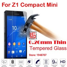 New Anti-Explosion Ultra Thin Cheap 2.5D 0.26mm 9H Phone Front Tempered Glass Verre For Sony Xperia Z1 Compact Mini