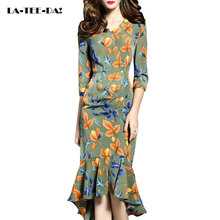 LA-TEE-DA!Free Shipping Summer 2017 Women Lady Fashion Patchwork Print Leaves Sexy Trumpet Mermaid Dating Dinner Party Dresses