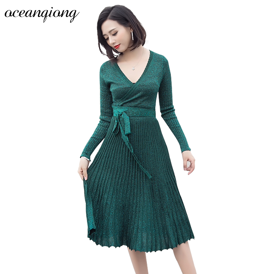 Knitted Dress Winter Women Long Sexy Midi Dress Vestdos Autumn Solid Long Sleeve Lace Up Pleated Dress Deep V Neck High QualityÎäåæäà è àêñåññóàðû<br><br>